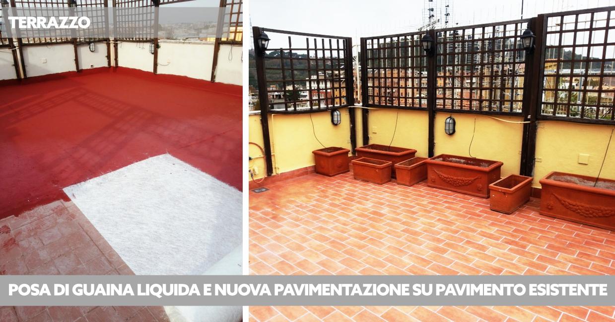 rifacimento terrazzi e balconi: guaina liquida e pavimentazione