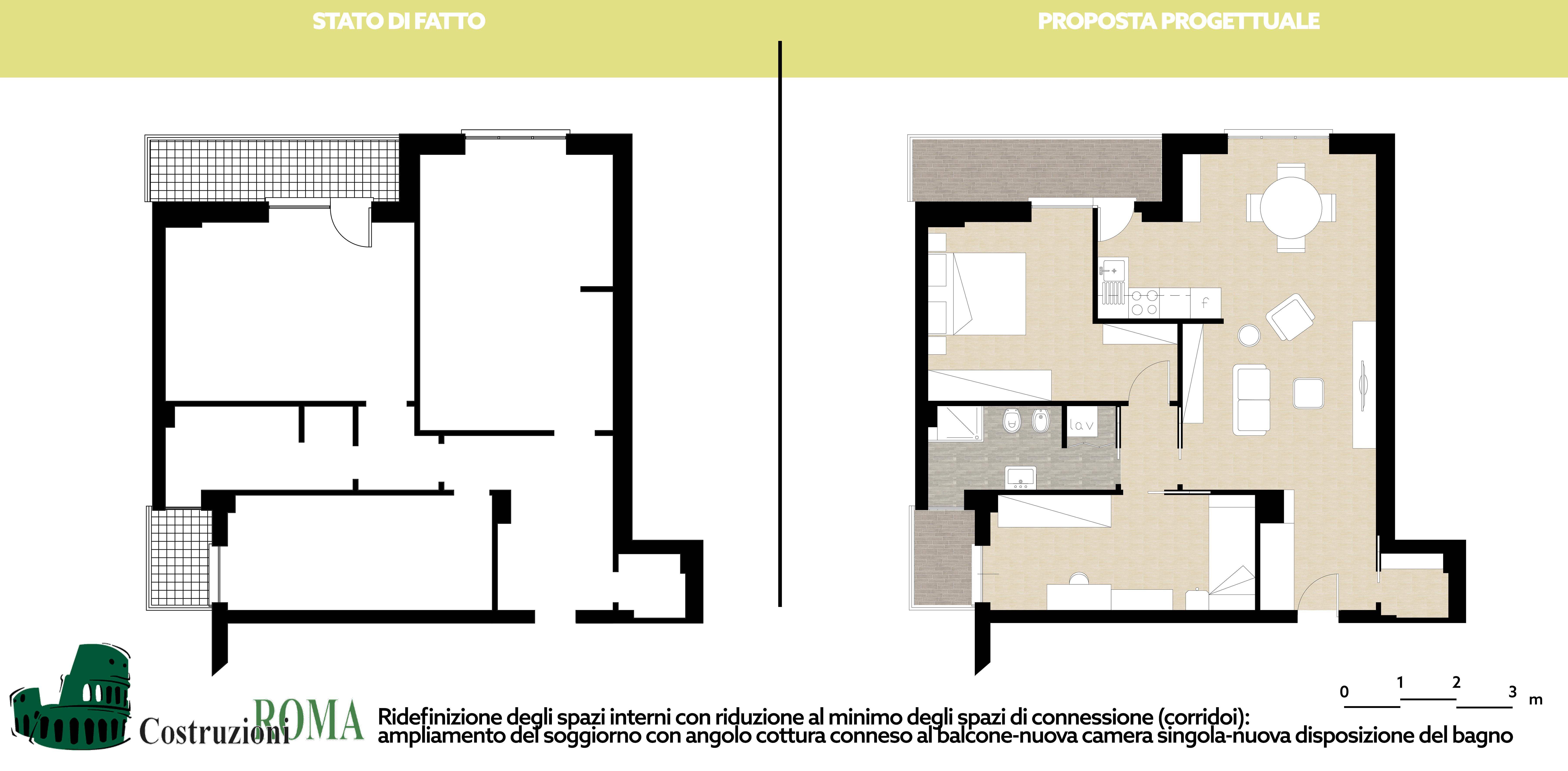 Progetto ristrutturazione casa al quadraro roma for Esempi di ristrutturazione appartamento